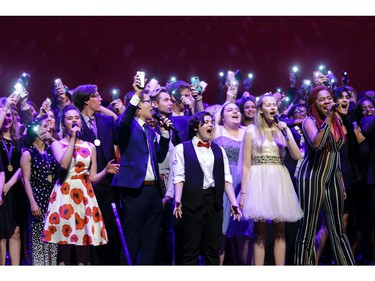 The Cappies Chorus performs the final musical number, during the annual Cappies Gala awards, held at the National Arts Centre, on June 09, 2019, in Ottawa, Ont.