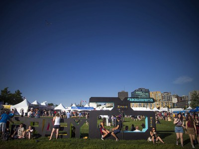 The 25th anniversary of Bluesfest was celebrated with a big cut out of 25 years at the entrance.
