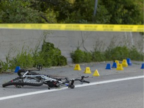 The scene of Tuesday's accident in which 13-year-old cyclist Simon Peter Khouri was killed in a collision with a car in Orléans.