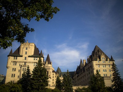 A view of the Château Laurier hotel from Major's Hill Park on Saturday.