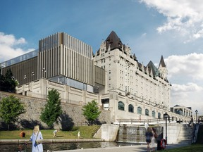 An artist's rendering of a proposed addition to the Château Laurier in Ottawa.