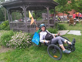 Thuy Do on her recumbent 'Catrike.' It is customized to meet the needs of its rider. It was stolen recently in Sandy Hill.