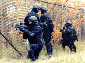 Members of Canada's special operations unit Joint Task Force 2 during training at Dwyer Hill. DND photo.