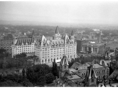 Chateau Laurier View from Peace Tower, 1930s