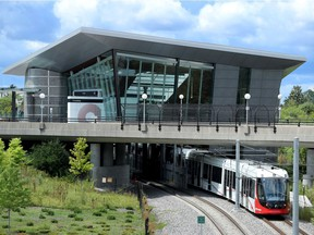 A train pulls out of the Tremblay LRT station.