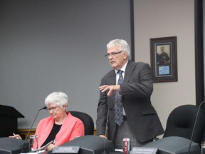 Coun. Syd Gardiner explains his motion to have Cornwall put itself forward as the home of Ontario's first Francophone university on Monday September 23, 2019 in Cornwall, Ont.