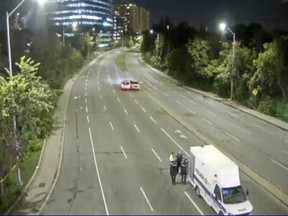 A photo from a City of Ottawa traffic camera looking south on the Vanier Parkway from Montreal Road shows an Ottawa Police Service collision investigation unit vehicle near the scene of what police called a serious collision Saturday.