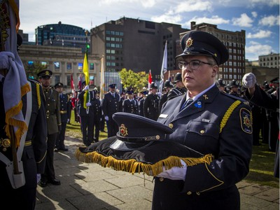 The Police and Peace Officers' 42nd annual Memorial Service was held Sunday, Sept. 29, 2019, on Parliament Hill. The headdress for Correctional Officer Lesa Zoerb, who died in the line of duty, was carried in Sunday.