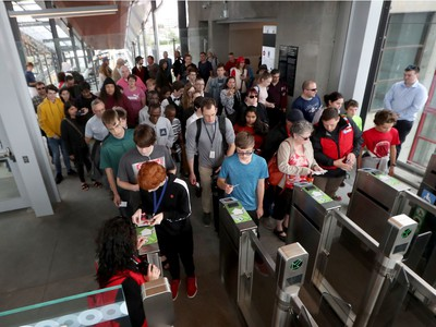 Ottawa's new LRT system was up and running for the public for the first time in Ottawa Saturday Sept 14, 2019.  Hundreds of people waiting to get onto the new LRT at Blair Station Saturday.   Tony Caldwell,