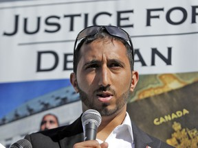 Deepan Budlakoti speaks to a small group of people outside the Supreme Court of Canada in May, 2015.