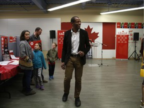 Greg Fergus, liberal candidate for Hull-Aylmer, before polls closed on federal election night in Aylmer, QC., on Oct. 21, 2019.