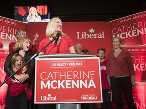 Liberal candidate Catherine McKenna celebrates her win with her supporters for the Ottawa Centre riding on the day of the federal election on Monday, Oct. 21, 2019.