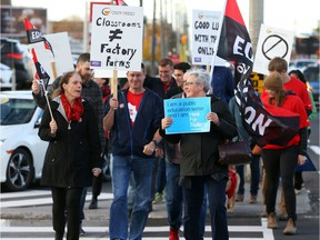 Protest on Merivale Rd in Ottawa by teachers who are in contract negotiations and fighting increases to class sizes, October 25, 2019.
