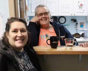 Wendy (left), a participant in the Shepherds of Good Hope's managed alcohol program, with Shepherds' staff member Lynda Geddes.