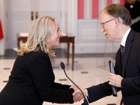 Mona Fortier is sworn-in as Minister of Middle Class Prosperity and Associate Minister of Finance during the presentation of Trudeau's new cabinet, at Rideau Hall on Nov. 20, 2019.