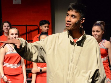 Joshua Ossa, performs as Zeke Baylor, during All Saints Catholic High School's production of High School Musical, on Nov. 29, 2019, in Ottawa, On.
