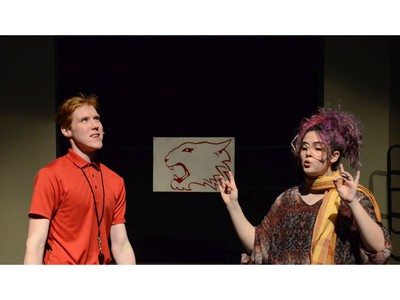 Coach Bolton, played by Tyson MacInnis (L), and Ms. Darbus, played by Lauren Butler (R), during All Saints Catholic High School's production of High School Musical, on Nov. 29, 2019, in Ottawa, On.