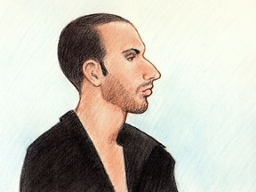 A courtroom sketch of René Goudreau. A court of appeal has ordered a new trial for Goudreau on a charge of first-degree murder in connection with the death of his mother, Lucie, in 2012.