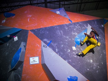 The finals for the 2020 CEC Open Boulder Nationals were held Sunday at Altitude climbing gym in Kanata. The men's winner, Guy McNamee of British Columbia works on his bouldering problem Sunday afternoon.