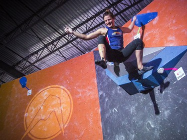 The finals for the 2020 CEC Open Boulder Nationals were held Sunday at Altitude climbing gym in Kanata. The women's winner, Allison Vest of British Columbia was all smiles after sending a problem during the competition Sunday.
