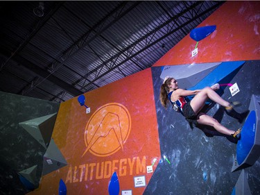 The finals for the 2020 CEC Open Boulder Nationals were held Sunday at Altitude climbing gym in Kanata.  Sophie Buitendyk of British Colombia works on her bouldering problem during the competition Sunday.