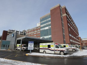 Ambulances in line at the Civic Campus of The Ottawa Hospital.