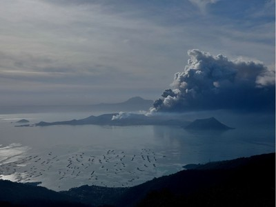 The errupting Taal Volcano is seen from Tagaytay City, Philippines, January 13, 2020.