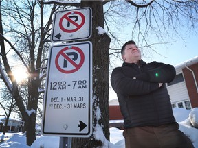 Lukas Ratkowski  on Moncton Road in Ottawa Monday Feb 10, 2020. Lukas lives in a condo on Moncton Road in Queensway Terrace North and is angry that the city has banned overnight parking on the street.