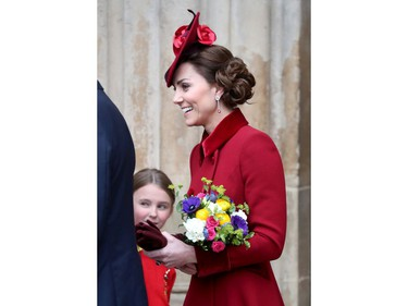 LONDON, ENGLAND - MARCH 09: Catherine, Duchess of Cambridge, departs the Commonwealth Day Service 2020 at Westminster Abbey on March 09, 2020 in London, England. The Commonwealth represents 2.4 billion people and 54 countries, working in collaboration towards shared economic, environmental, social and democratic goals.