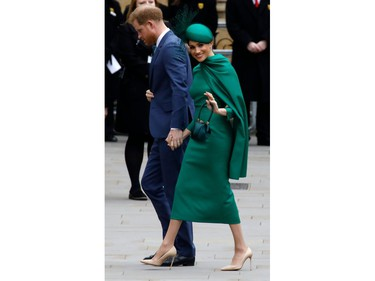Britain's Prince Harry, Duke of Sussex, (L) and Meghan, Duchess of Sussex arrive to attend the annual Commonwealth Service at Westminster Abbey in London on March 09, 2020. - Britain's Queen Elizabeth II has been the Head of the Commonwealth throughout her reign. Organised by the Royal Commonwealth Society, the Service is the largest annual inter-faith gathering in the United Kingdom. (Photo by Tolga AKMEN / AFP)