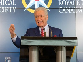 Alex Trebek speaks during the official opening of Canada's Centre for Geography and Exploration, the new headquarters of The Royal Canadian Geographical Society, in Ottawa on May 13, 2019.