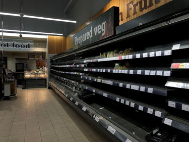 Empty shelves are seen at a Sainsbury's store in south London as the numbers of coronavirus cases continues to rise around the world, in London, Britain.
