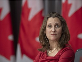Deputy Prime Minister and Minister of Intergovernmental Affairs Chrystia Freeland is seen at a news conference in Ottawa earlier this spring.