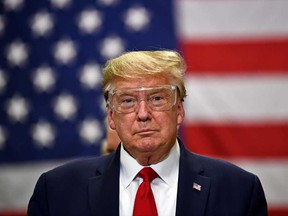 U.S. President Donald Trump participates in a tour of a Honeywell International plant that manufactures personal protective equipment in Phoenix, Arizona on May 5.