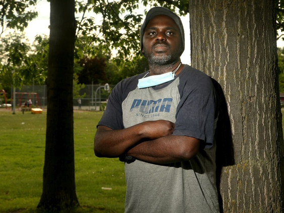 OTTAWA - JUNE 8, 2020 -  Obi Ifedi returns to the public park near his Grenon Avenue home where he was harassed by an Ottawa bylaw officer in early March while walking with his young daughter.  He was punched, he says, by the bylaw officer after he'd left the park and refused to give his name.  Julie Oliver/POSTMEDIA
