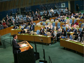 Prime Minister Justin Trudeau addresses the UN General Assembly in September, 2017 in New York. Now he wants a Security Council seat.