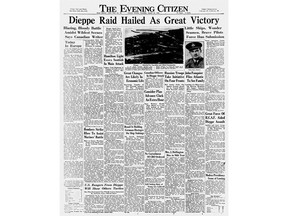The Citizen's front page of Aug. 20, 1942 declares the raid on Dieppe a great success.
