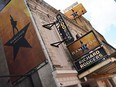 A view of the marquee at Hamilton: An American Musical at the Richard Rodgers Theatre on June 29, 2020 in New York City.  Broadway will remain closed until 2021 due to the ongoing coronavirus pandemic.