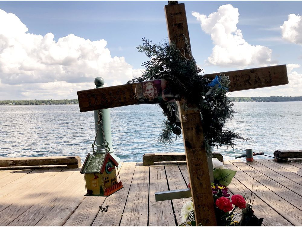 New items, including a bird house, have been added to a memorial to Damian Sobieraj near the place where he died at Hardy Park in Brockville on Sept. 13, 2018.