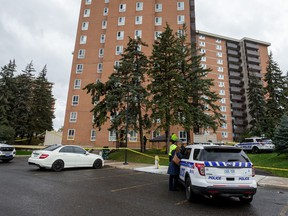 October 7, 2020 – Ottawa Police at 2020 Jasmine Crescent where a man fell to his death from his apartment window during a drug raid.