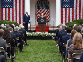 Judge Amy Coney Barrett speaks after being nominated to the U.S. Supreme Court by President Donald Trump in the Rose Garden of the White House on September 26, 2020. The occasion appears to have been a COVID-19 super-spreader event.