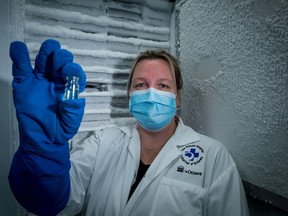 Research technician Julia Petryk routinely works with ultra-low temperature freezers at The Ottawa Hospital Research Institute.