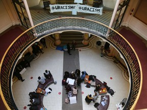 A Monday photo of the student sit-in at Tabaret Hall on the University of Ottawa campus.