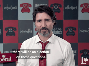 Justin Trudeau in an image taken from a video calling for more Liberal candidates for a future election.