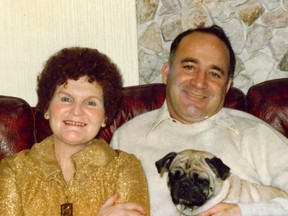 Ruth and Douglas Levy with their pug, Sweetie.