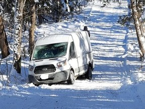 Provincial police patrolling snowmobile trails in Glengarry Township on the weekendencountered this delivery van whose driver relied a little too much on the GPS for the next delivery. OPP photo