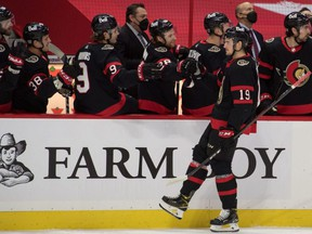Senators right wing Drake Batherson (19) celebrates his goal with his team in the first period against the Canadiens at the Canadian Tire Centre in Ottawa, Tuesday, Feb. 23, 2021.