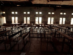 FILE PHOTO: A classroom furniture is seen arranged inside the hall at the Government Science College in Kagara, Niger state, Nigeria February 18, 2021.