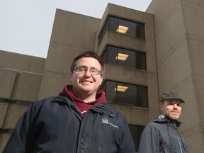 Patrick D'Aoust and Dr. Tyson Graber pose for a photo at the University of Ottawa campus on Friday.