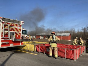 Firefighters are battling a fire in an agricultural building on Renaud Road near Blackburn Hamlet.